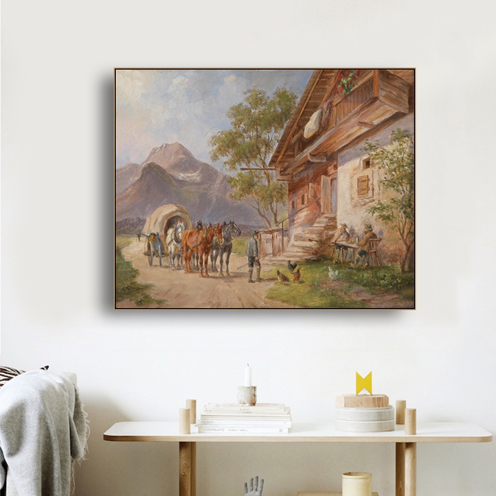 People and Horses Famous Oil Painting Wall Art Poster Print Canvas Calligraphy Decor Picture for Living Room Home