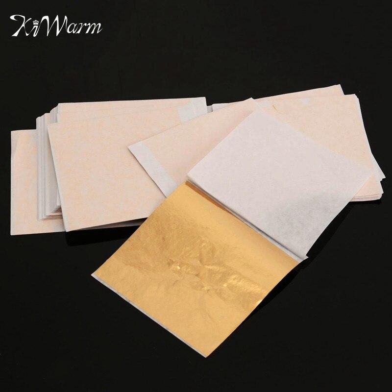 100 sheets set gold foil leaf aluminum leaf gilding for Furniture decoration paper