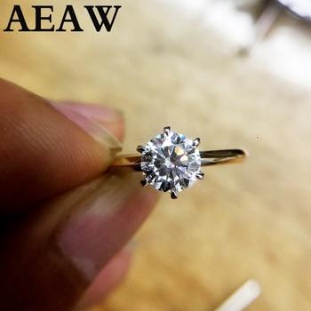 100 ٪ 18K 750Au الذهب 1ct مويسانيتي الاشتباك خاتم الماس د اللون VVS مع شهادة وطنية للمرأة 1