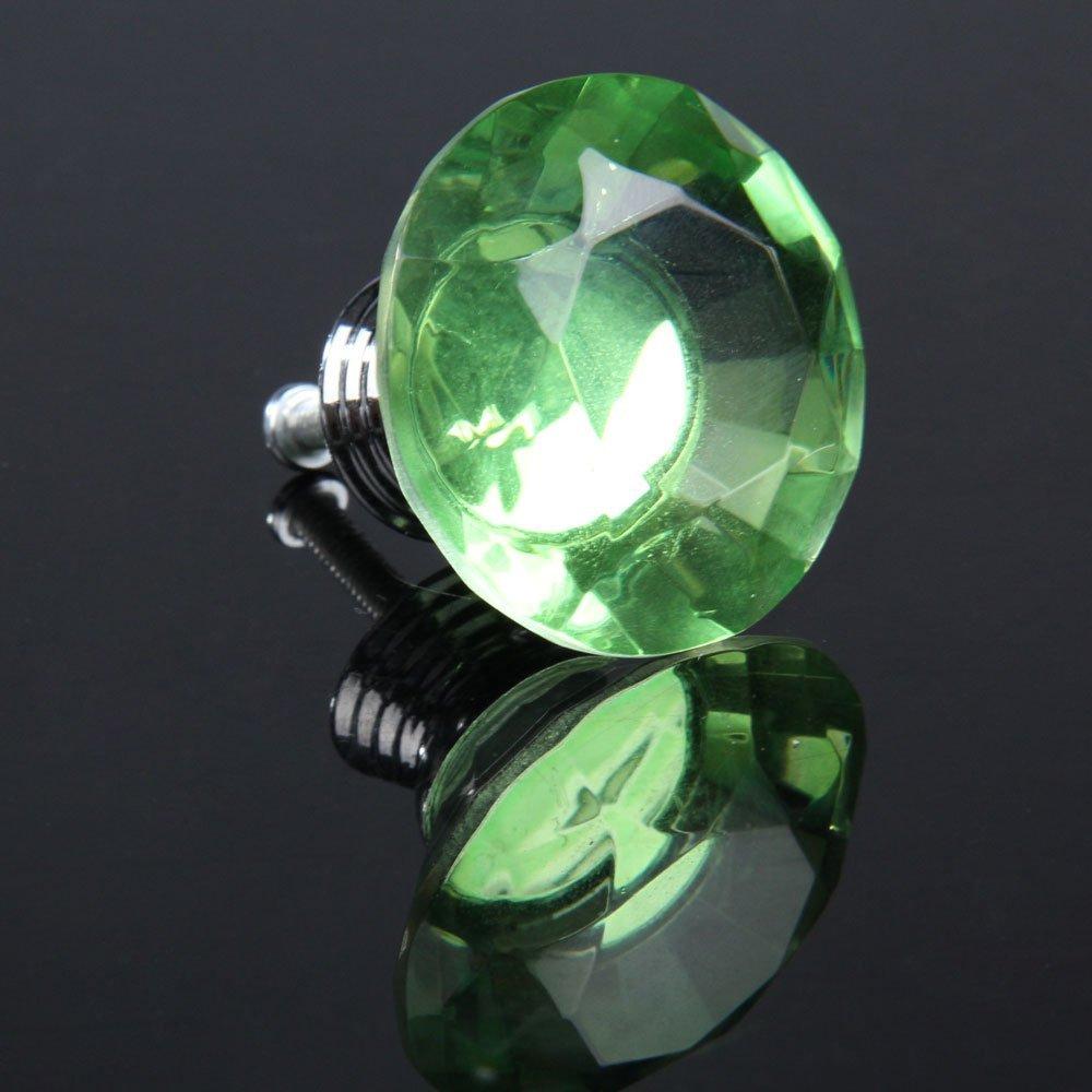 10pcs Diamond Shape Crystal Glass Drawer Pull Handle Knob (Green)