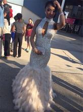 2016 Sparkly Pailletten Feder Abendkleider Meerjungfrau High Neck Sexy Backless Formale Kleider Abend Tragen Prom Kleider