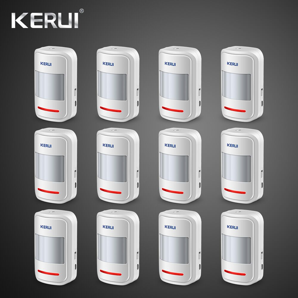 Kerui 12pcs Rechargeable 5V USB 433MHz Wireless PIR Motion Detector For GSM PSTN Security Alarm System