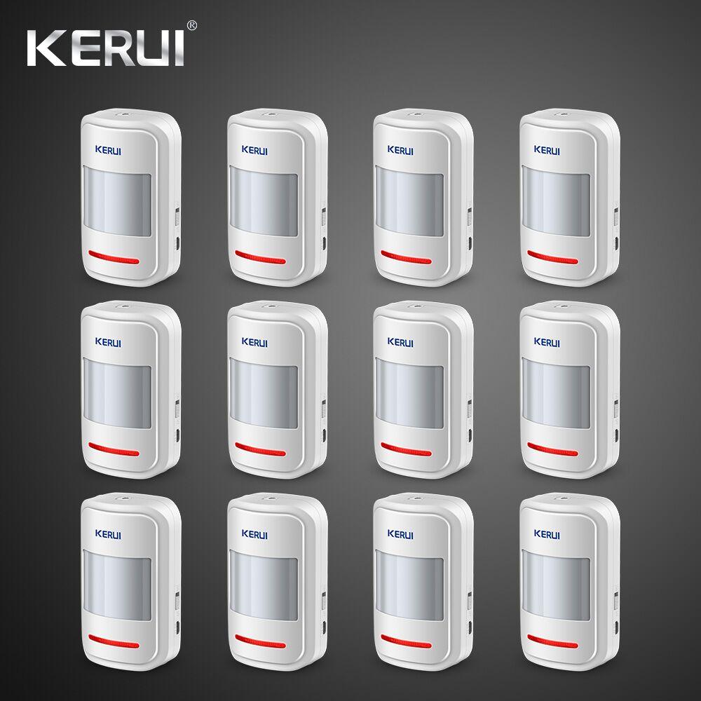 Kerui 12 piezas recargable 5 V USB 433 Mhz Detector de movimiento PIR inalámbrico GSM PSTN sistema de alarma de seguridad de dial Kit de alarma