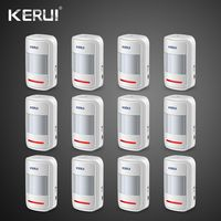Kerui 12pcs Rechargeable 5V USB 433MHz Wireless PIR Motion Detector For GSM PSTN Security Alarm System Auto Dial Alarm Kit