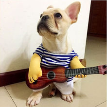 Pet Dog and Cat Costume Halloween Holiday Clothes Kitten Puppy Bulldog Playing Guitar Singer Costume Funny Pet Party Apparel(China)