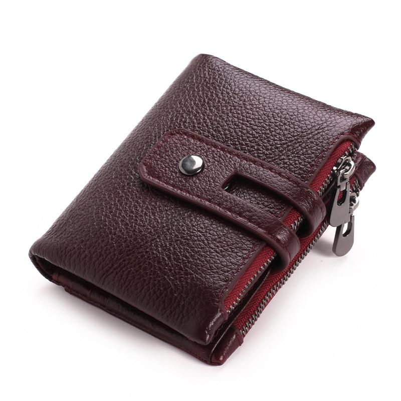 Artmi Mens Äkta Läder Bifold Kort Väska Plånbok Dubbla Zipper - Plånböcker - Foto 1