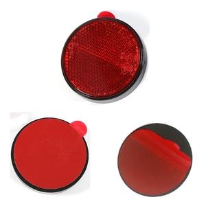 Image 3 - Araba aksesuarları 2 adet kırmızı yuvarlak reflektör şerit römork kamyon için kamyon otobüs RV karavan kampı bisiklet towingcamp kendinden yapışkanlı