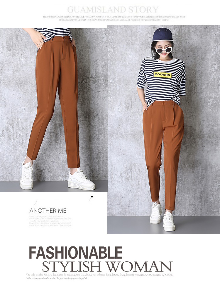 Hot Sale Harem Pants Women 19 Summer Autumn Pants Casual OL Pants Elastic High Waist Slim Work Pants Plus Size 3XL Trousers 4