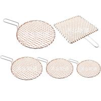 Barbecue Mesh Polished Copper Carbon Baking Net Pan Grate Round Square With Handle Barbecue Rack