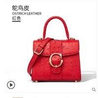 Gete 2019 новая импортная Страусиная кожаная женская сумка модная сумка большая емкость женская сумка через плечо кожаная женская сумка