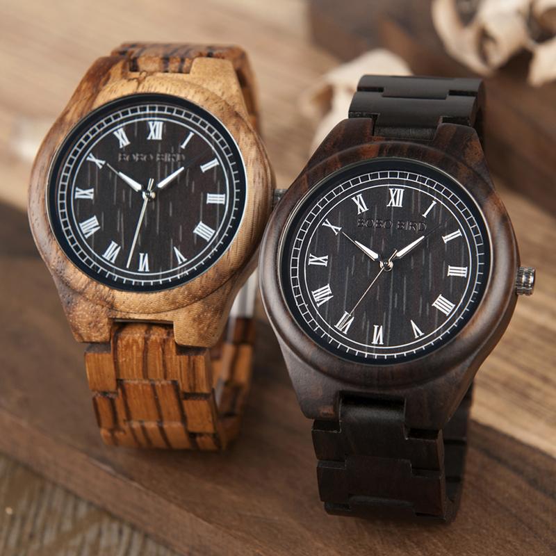 BOBO BIRD WO18O19 Men Ebony Zebra Wooden Watches 14