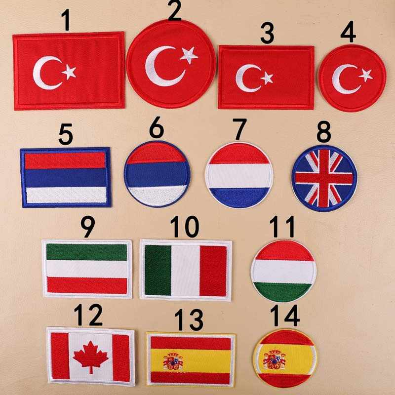 รัสเซียสเปนแคนาดาอิตาลีธงแพทช์สติกเกอร์สำหรับเสื้อผ้าตุรกีสหราชอาณาจักรเหล็กบนแพทช์ทหาร Patch ป้าย