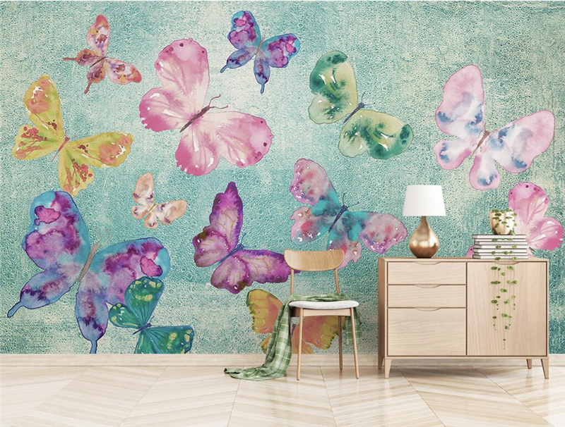 Custom Wallpaper for Walls 3 d Nostalgic Butterfly Dancing 3d Photo Wallpaper for Living Room Thicken Mural Wallpaper Bedroom junran america style vintage nostalgic wood grain photo pictures wallpaper in special words digit wallpaper for living room