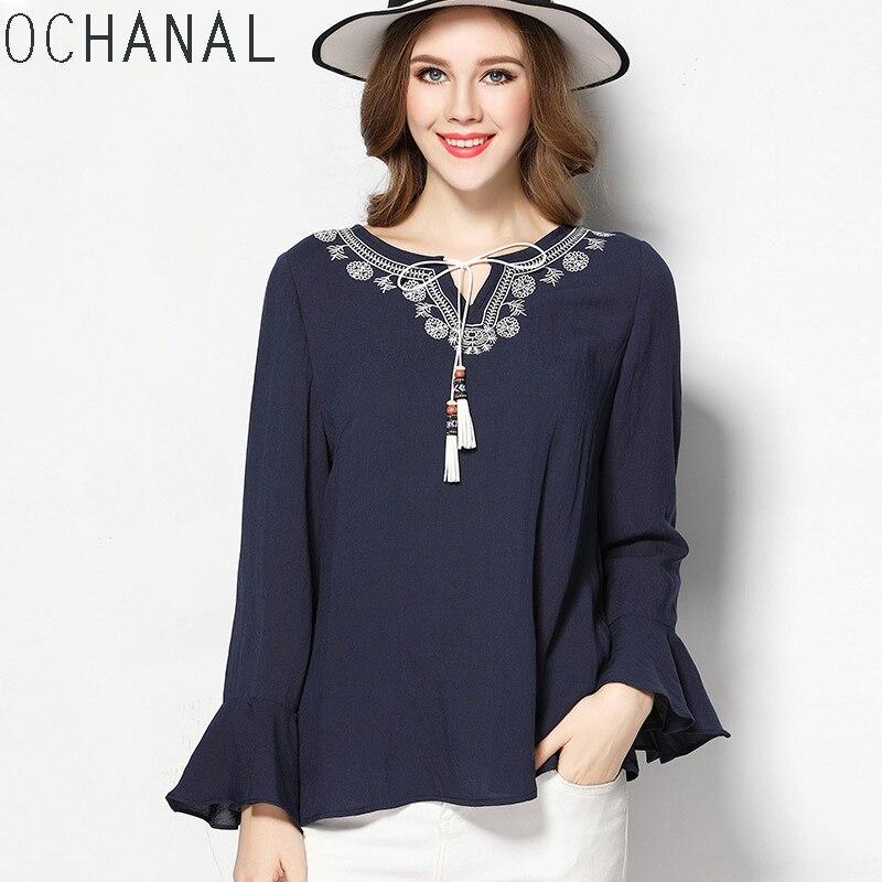 OCHANAL Estilo Boho Mujeres del Bordado Blusa Camisa Tops Azul Marino XL 5XL Más