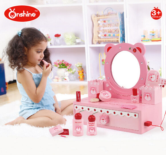 ONSHINE Simulation dressing table set toys Wooden play house Classic toy Girl gift High quality classic world pink princess mirror wooden toy female baby child pretend play vanity dressing table toys furniture for girl