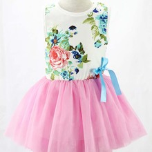Kids Girls Toddler Baby Sleeveless Princess Dress Bow Flower Tutu Dresses Cute 5 Color Available недорого
