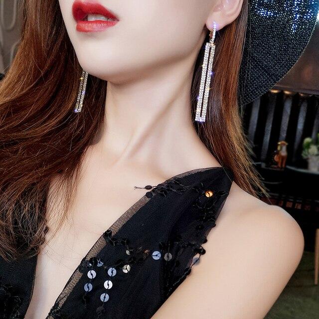73cdcf169 Fashion s925 Long Geometric Drop Earrings Luxury Gold Silver Color  Rectangle Rhinestone Earring for Women Party Jewelry Gift