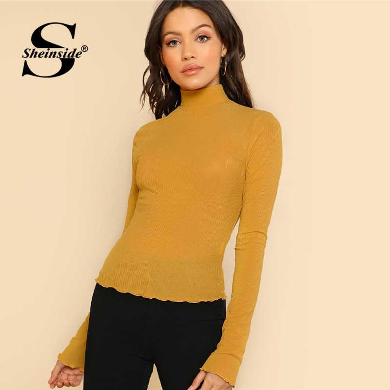 6d7fef4a2a Sheinside Mustard Elegant Long Sleeve Shirt Office Ladies Workwear Tee Tops  2018 High Neck Lettuce Hem