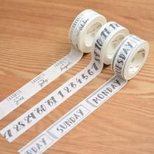 3 rolos/pacote calendário planejador washi masking fitas diy scrapbooking adesivo semana número do mês 1.5cm x 7m preto branco