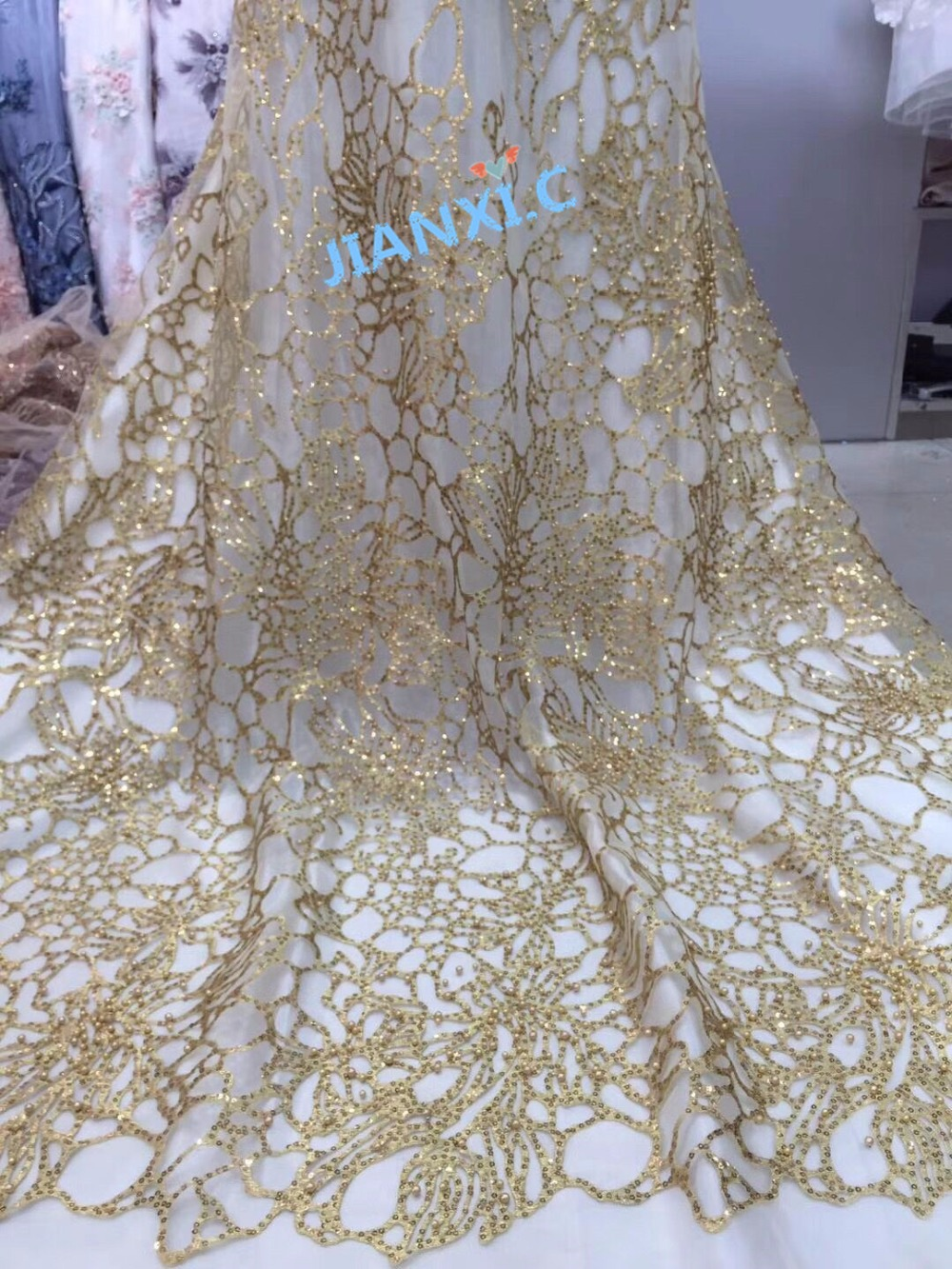 Factory price CiCi 101916 nigerian lace fabrics Guipure Embroidered Mesh Tulle fabric