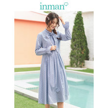 INMAN 2019 Autumn New Arrival Bow Lacing Defined Waist Vertical Stripes Wave Point Literary Young Girl Sweet Women Dress(China)
