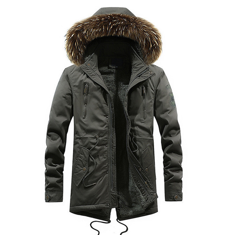 drop shipping men military winter jackets and coat with fur hood thicken   parka   outwear warm coat NXP29