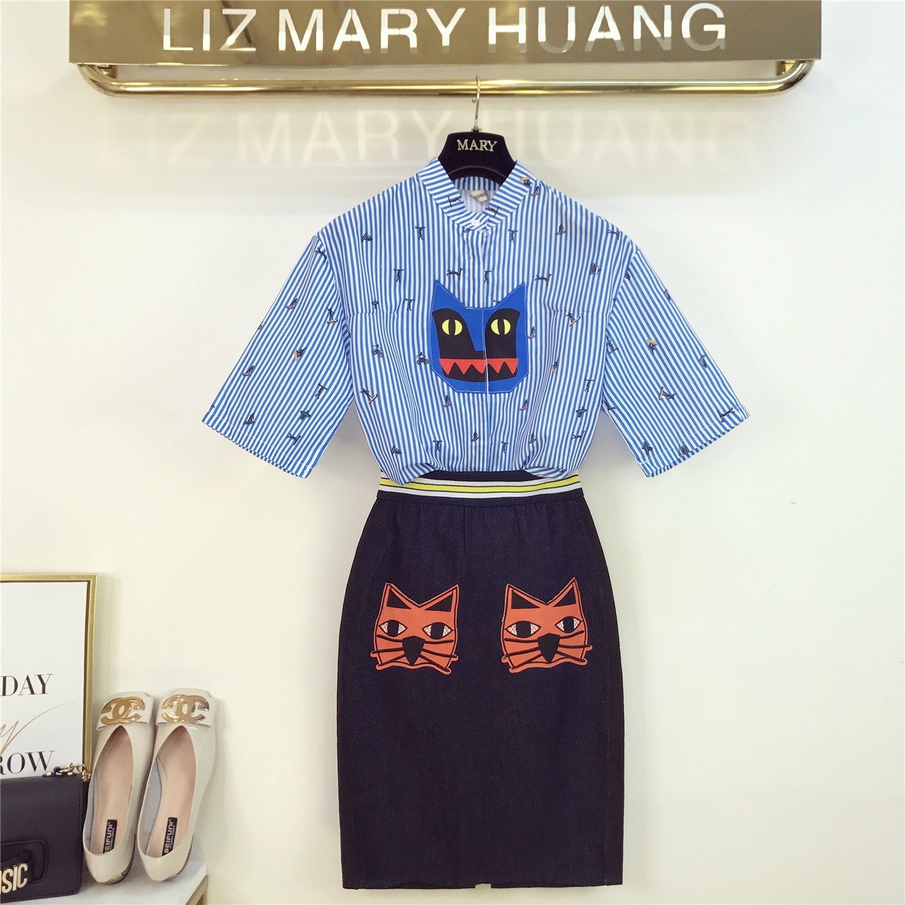Harajuku Girls Lady Shirt Suit Summer Short Sleeve Print Striped Shirts+cat Embroidery Denim Skirt Set Women Casual 2 Piece Sets