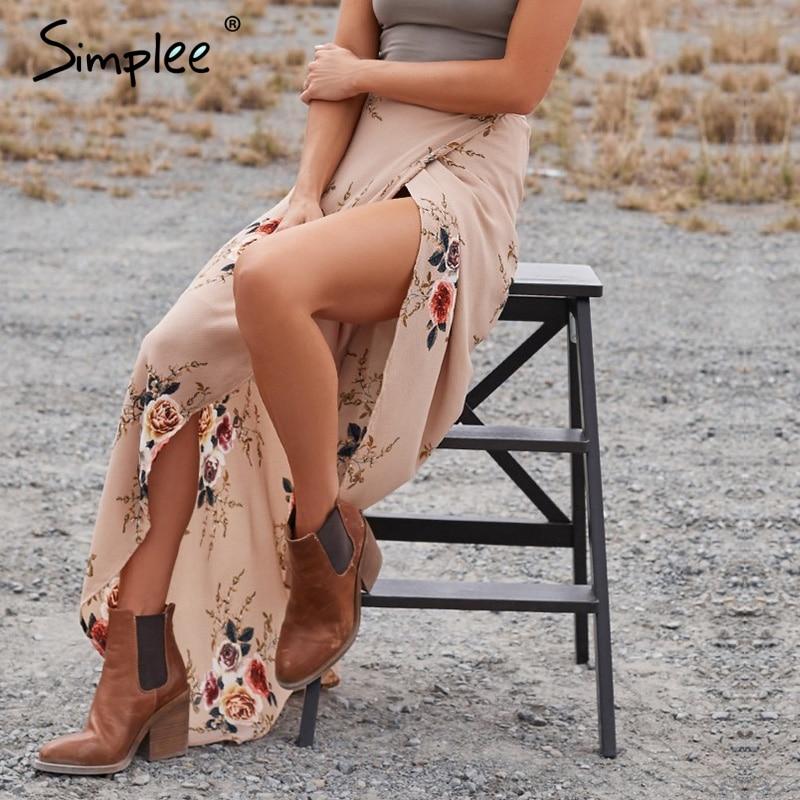 202ec8f8d4 Simplee Vintage floral print long skirts women Summer elegant beach maxi  skirt Boho high waist asymmetrical
