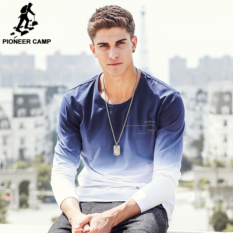 Pioneer Camp 2019 New Arrive Mens T Shirts Fashion O-Neck casual Long Sleeve T-Shirt Gradient band Clothing T Shirt Homme 611907 Men Men's Clothings Men's Tee Men's Tops cb5feb1b7314637725a2e7: White dyed blue