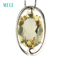 Natural Lemon Quarts Silver Pendant Oval 12mm 16mm Light Yellow Color And Clean Quality Faced Cutting