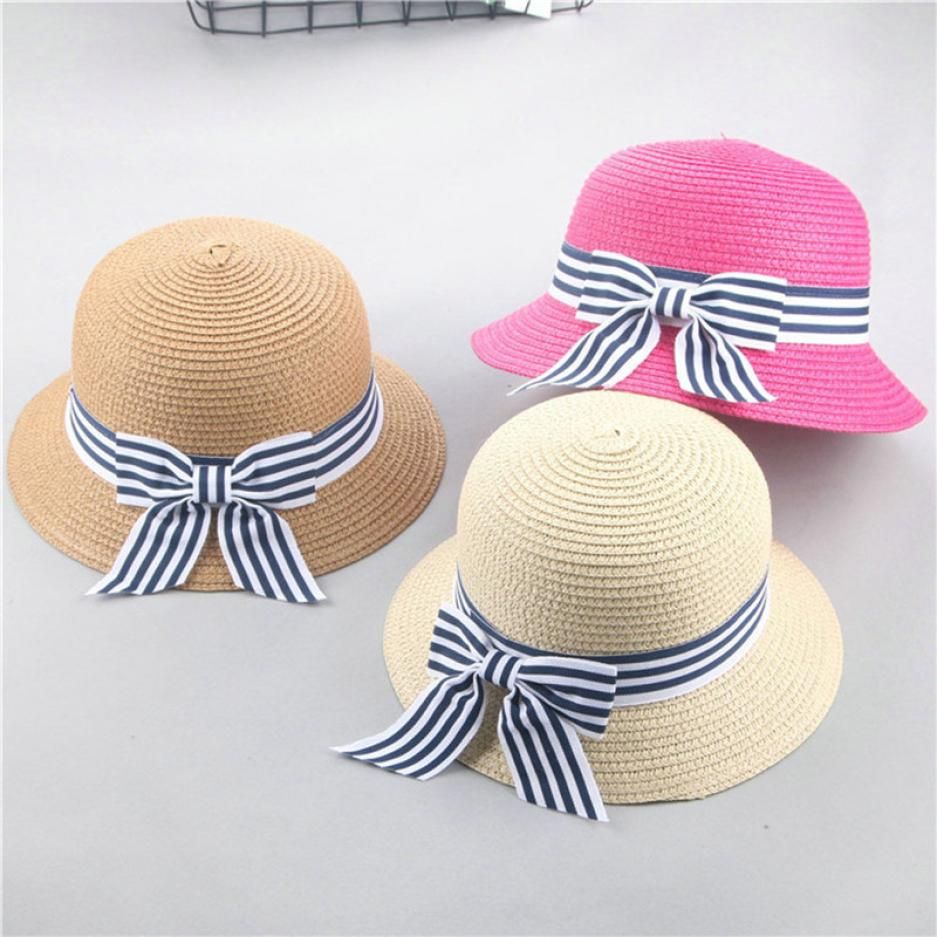 Summer Bowknot Cute Hats Baby Girls Breathable Straw Hat Children Beach Party Caps Boy Sun Hats