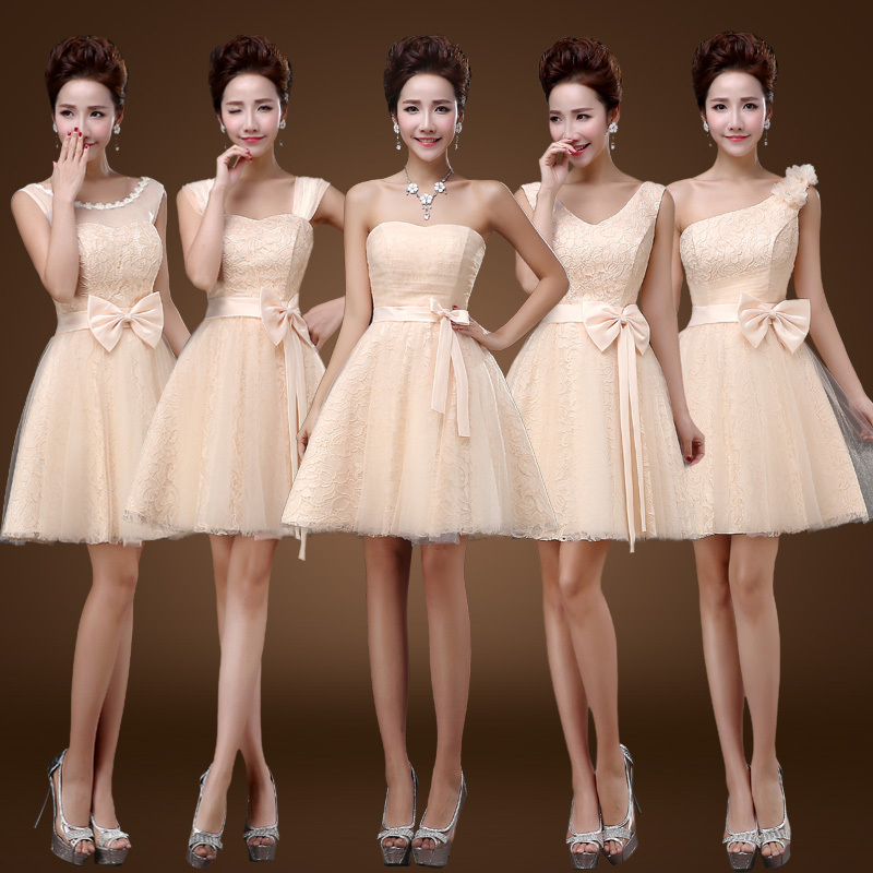 Sweet bridesmaid dress short paragraph 2015 new fashion design bow champagne prom dress free shipping