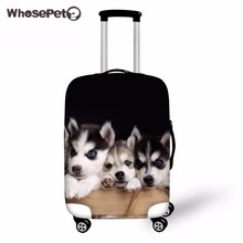 WHOSEPET Husky Cute Luggage Cover for Suitcases Elastic Stretch Spandex Trunk Covers Dogs Printing Travel Baggage Protective New