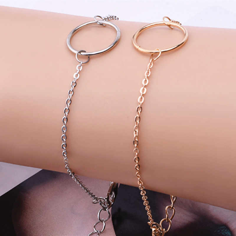 flowery fire Trendy Simple Round Hollow Charm Bracelet For Women Gold/Silver Color Link Chain Bracelets Ladies Girls Party Gift