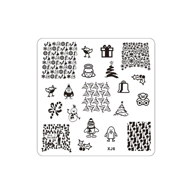 Nail Art St Sting Image Plate Manicure Stencil Christmas Tree Snowball People Penguin Xj06