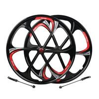 MTB Rim 6 spokes wheels 26 inches Mountain Bicycle Wheel bike rims mountain bike wheels magnesium alloy 26 speeds