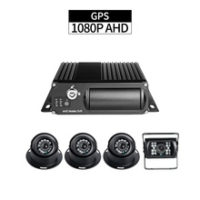 GPS Truck DVR Security Kit,4CH 1080P SD MDVR 256G Cycle Recording Delayed Shutdown I/O Alarm with 4pcs AHD 2.0MP Cameras for Bus