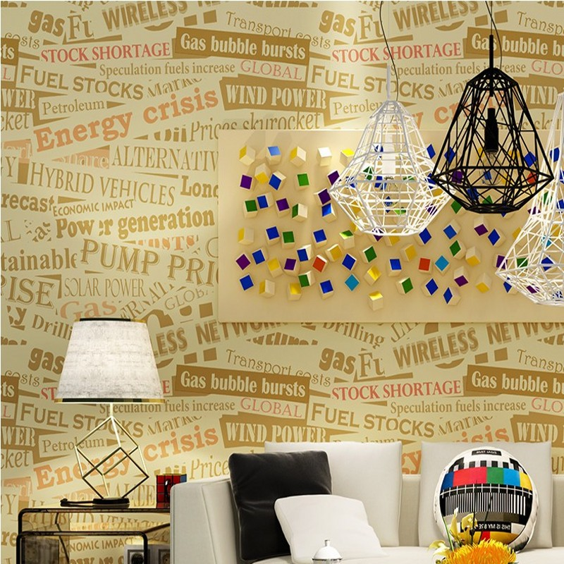 Free Shipping European English letter wallpaper bar background wall personalized living room bedroom sofa wallpaper free shipping cartoon pattern wallpaper leisure bar ktv lounge living room sofa children room background comics wallpaper mural
