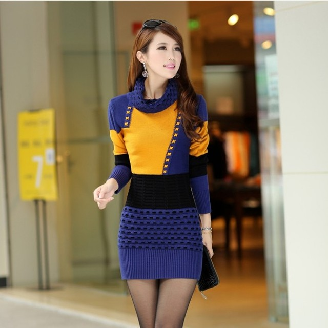 Woman Winter Dress  Knitted Dress Turtleneck Long Sleeve Women Sweater Dress Sweaters and Pullovers Plus Size Women Clothing 2