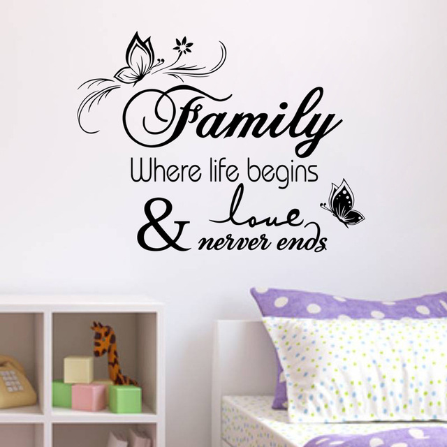 Wallpaper Family Where Life Begins Love Never Ends Wall Sticker on