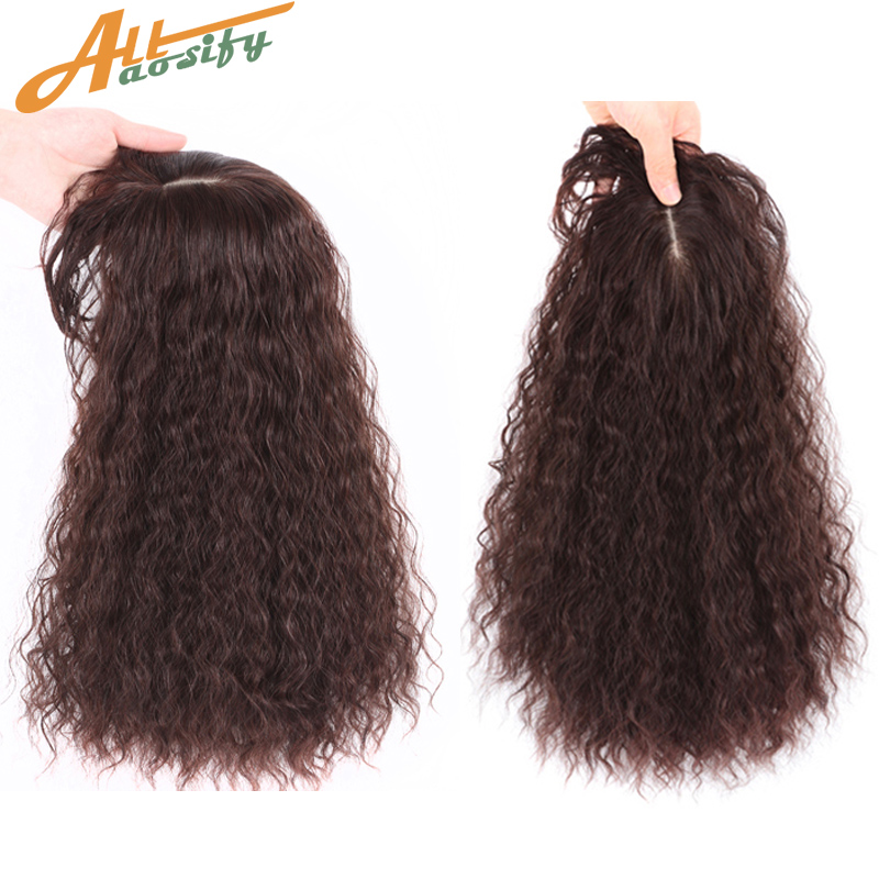 Allaosify Natural Invisible Cover White Hair For Women Hair Closure Synthetic Wig Hair Female Corn Perm Curly Hair With Bangs