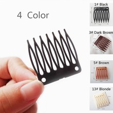 100pcs/Lot,Wig Accessories,Hair Wig Plastic Combs and Clips For Wig Cap,Black Color Combs For Making Wig,Vogue Queen Products(China)