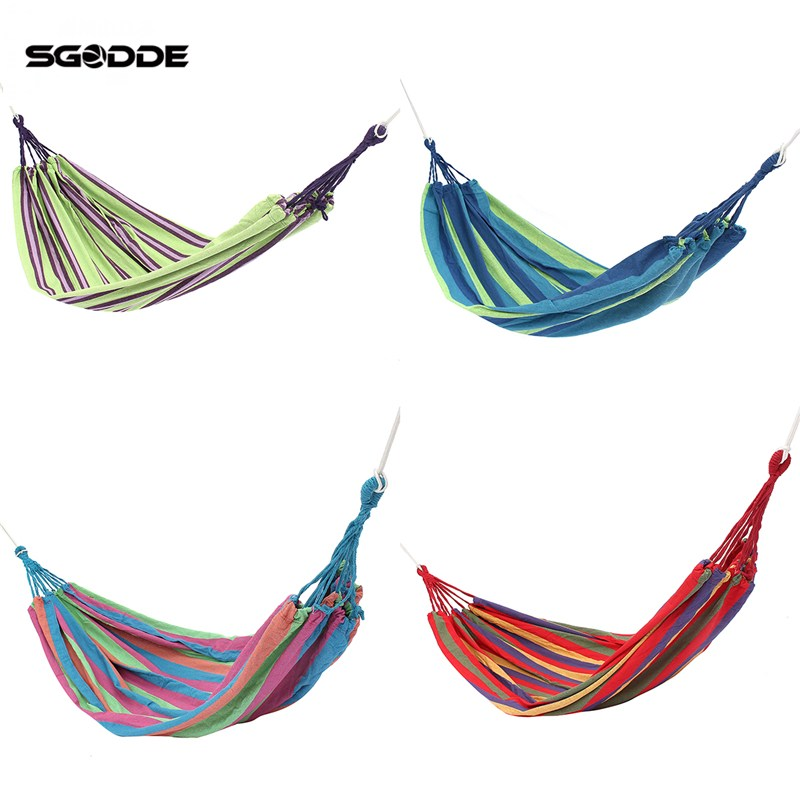 SGODDE Portable Swing Hammock Outdoor Camping Travel Patio Yard Hanging Tree Bed Canvas Outdoor Leisure Bed furniture size hanging sleeping bed parachute nylon fabric outdoor camping hammocks double person portable hammock swing bed