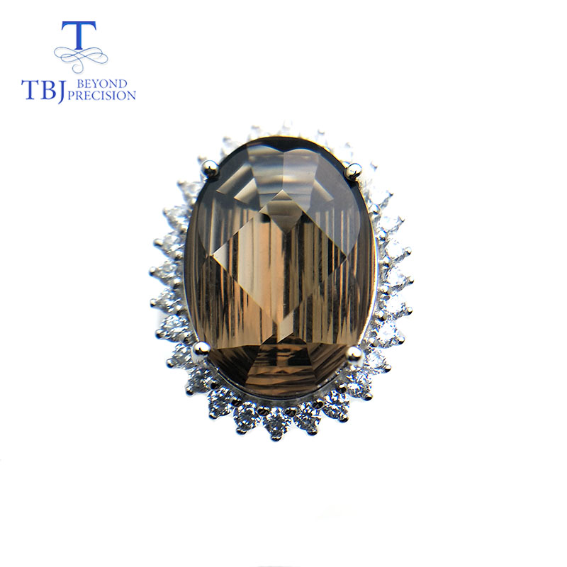 TBJ 19ct natural smoky quartz gemstone jewelry set pendant ring special big shinning cut 925 sterling