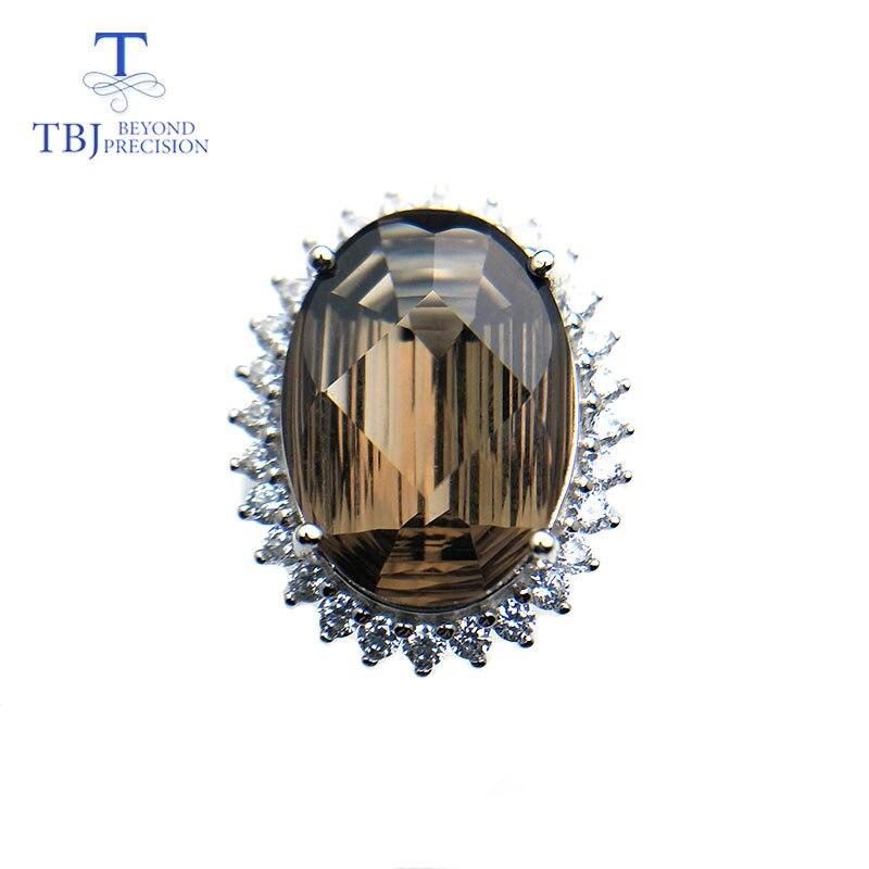 TBJ 19ct natural smoky quartz gemstone jewelry set pendant ring special big shinning cut 925 sterling