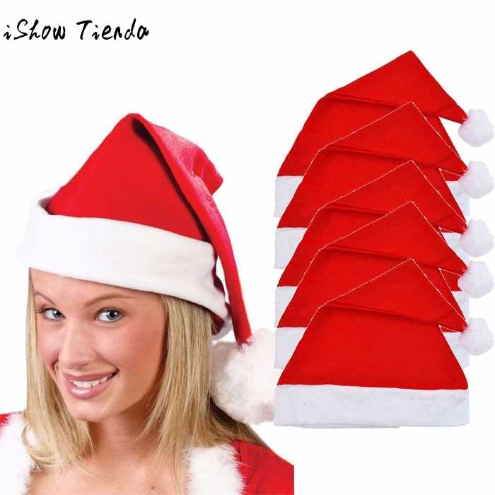 5/pc Adult Unisex Adult Xmas Red Caps Santa Novelty Hat for Christmas Party Christmas Party chapeau Ha