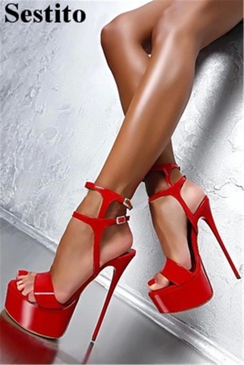Fashion Red Super High Thin Heels Party Sandals Summer Casual Shoes Peep Toe Platform Women Sandals Buckle Strap New Women ShoesFashion Red Super High Thin Heels Party Sandals Summer Casual Shoes Peep Toe Platform Women Sandals Buckle Strap New Women Shoes