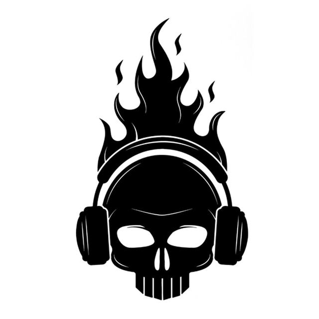 d2fdfb7dc0d 11.5CM*18.8CM Interesting Skull Headphones Fire Musical Decor Vinyl Car  Stickers Silhouette S9-0791