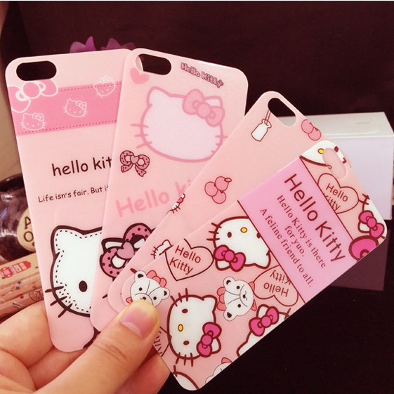 0d193c5978 hello kitty For iphone 8  7 plus  7 6 6splus front + back colored film Full  protect Tempered Glass Screen Protector cat pink