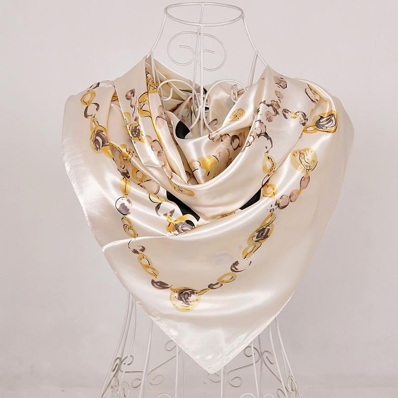 Дизайн женский Шелковый большой квадратный шелковый шарф из полиэстера, 90*90 см горячая Распродажа атласный шарф с принтом для весны, лета, осени, зимы - Цвет: beige 555